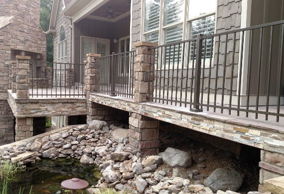 ornamental railing with stone work