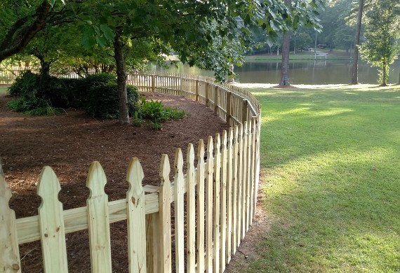 Decorative Wodden Fence with Lake